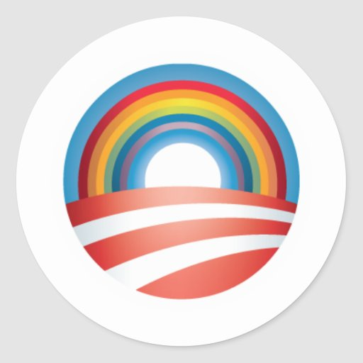Obama LGBT Pegatina Redonda