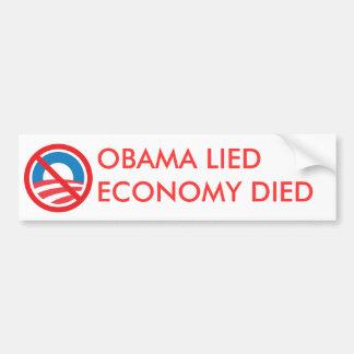 OBAMA LIED ECONOMY DIED BUMPER STICKER
