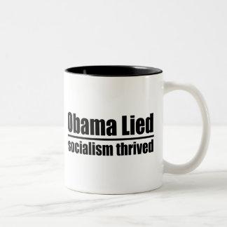 Obama Lied, Socialism Thrived Two-Tone Coffee Mug