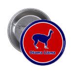 Obama Llama Blue Outline Button