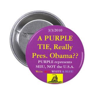 Obama lleva púrpura de SEIU Pin Redondo De 2 Pulgadas