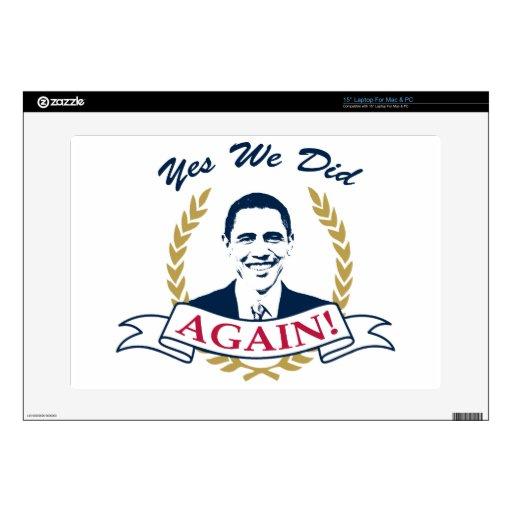 Obama lo hicimos sí otra vez el color V2 Calcomanía Para 38,1cm Portátil