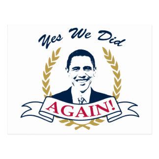 Obama lo hicimos sí otra vez el color V2 Tarjetas Postales