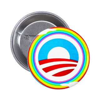 OBAMA LOGO AND RAINBOW  CIRCLE BUTTON