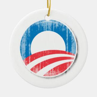 Obama Logo Double-Sided Ceramic Round Christmas Ornament