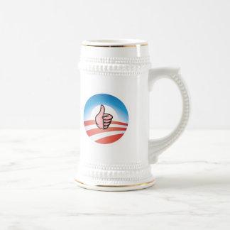 Obama logo w/thumbs up 18 oz beer stein