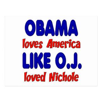 Obama Loves America Like O.J. Loved Nichole Postcard