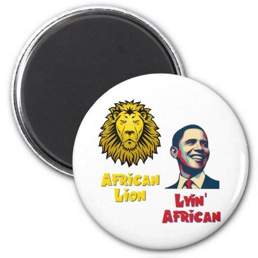 Obama Lyin' African/ African Lion Refrigerator Magnets