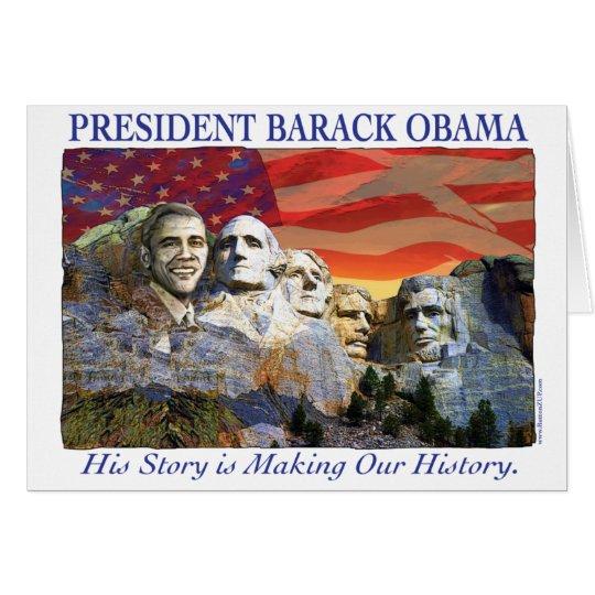 Obama Making History Mount Rushmore Card