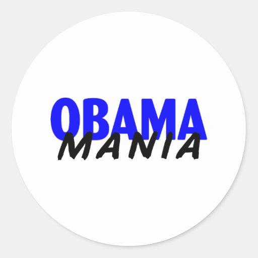 Obama-Manía Pegatina Redonda