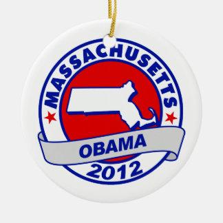 Obama - Massachusetts Christmas Ornament