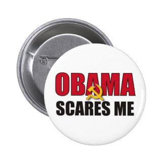 Obama me asusta pin redondo de 2 pulgadas
