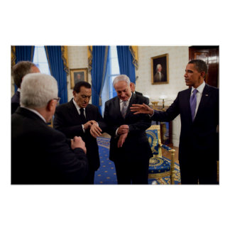 Obama Meets Netanyahu & Mubarak In White House Poster