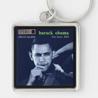 Obama Merch Llavero Cuadrado Plateado