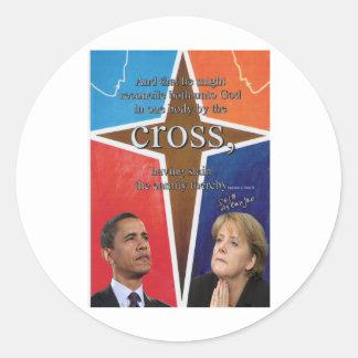obama - merkel classic round sticker