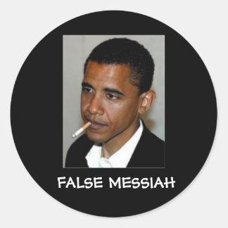 Obama: Mesías falsas Pegatina Redonda