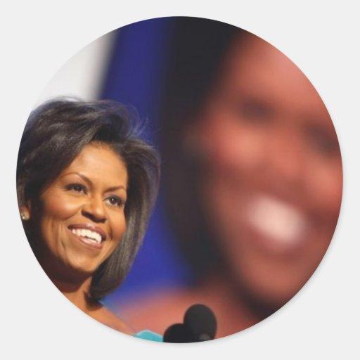 Obama-Michelle Pegatina Redonda
