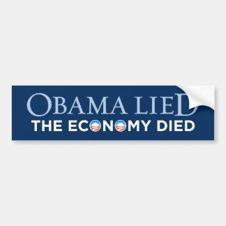 Obama mintió - la economía murió pegatina para el  etiqueta de parachoque