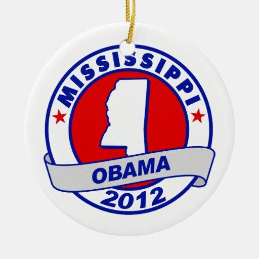 Obama - Mississippi Adorno Navideño Redondo De Cerámica