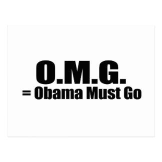 OBAMA MUST GO png Postcard
