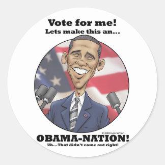 Obama-Nation Round Stickers