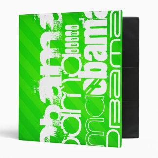 Obama; Neon Green Stripes Vinyl Binder