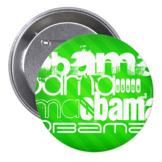 Obama; Neon Green Stripes 3 Inch Round Button