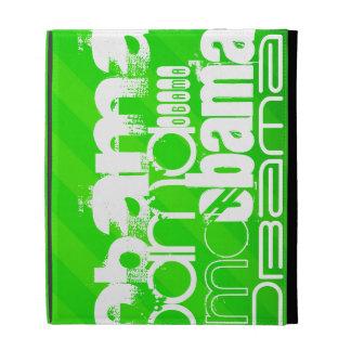 Obama; Neon Green Stripes iPad Folio Cases