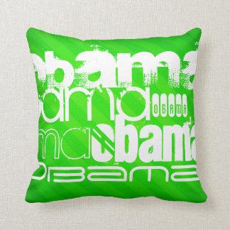 Obama; Neon Green Stripes Throw Pillows