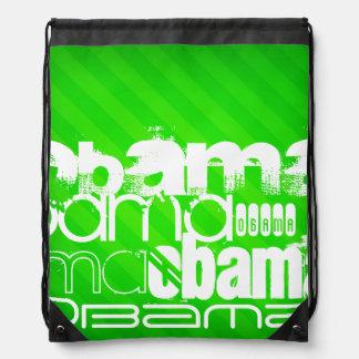 Obama; Neon Green Stripes Cinch Bag