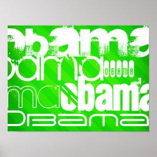Obama; Neon Green Stripes Poster