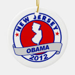 Obama - new jersey Double-Sided ceramic round christmas ornament