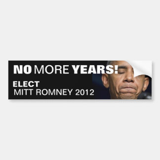 Obama - no más de años - elija a Mitt Romney 2012 Pegatina Para Auto