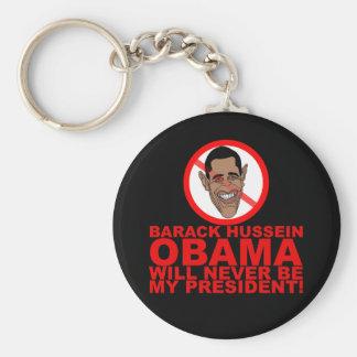 Obama nunca será mi presidente llavero redondo tipo pin