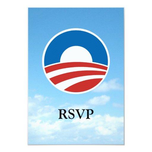 Obama-O Logo with Blue 3.5x5 Paper Invitation Card