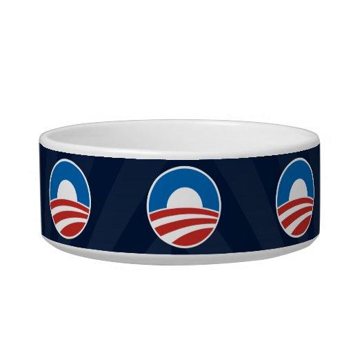Obama-O Logo with Blue Cat Food Bowls