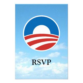 Obama-O Logo with Blue Personalized Invite