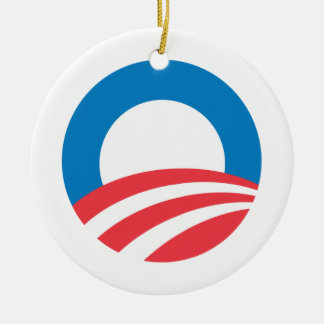 OBAMA_O_ -.png Double-Sided Ceramic Round Christmas Ornament