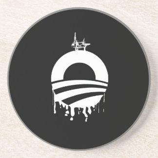 Obama Oil Rig Reverse Beverage Coaster