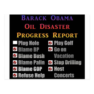 Obama oil spill progress report post card