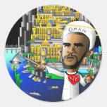 Obama Omam y libertad Pegatina Redonda