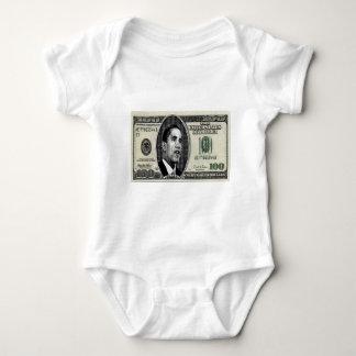 Obama on $100 bill baby bodysuit