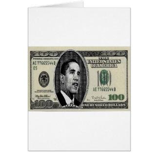 Obama on $100 bill card