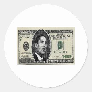 Obama on $100 bill classic round sticker
