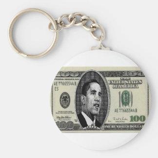Obama on $100 bill keychain