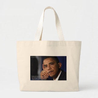"""Obama """"On Changing"""" Wisdom Quote Gifts & Tees Large Tote Bag"""