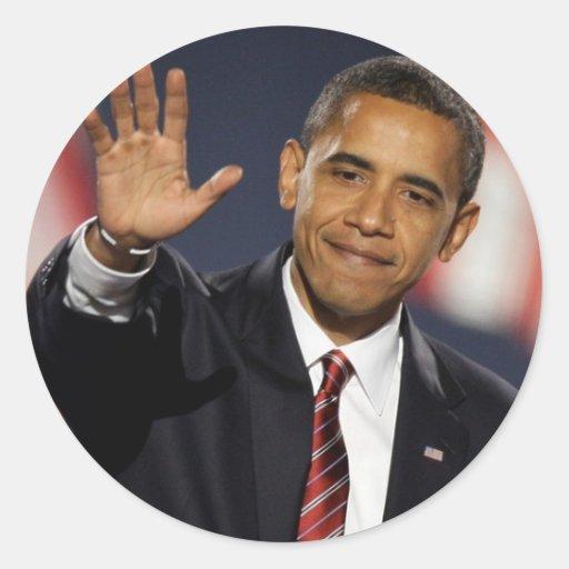 Obama-Onda Pegatina Redonda