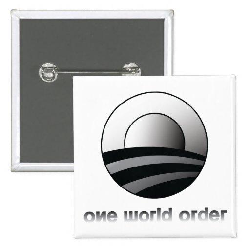 Obama One World Order Pinback Button