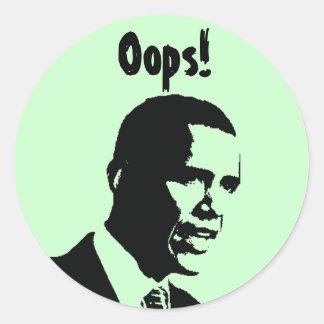 ¡Obama Oops! Etiquetas Redondas