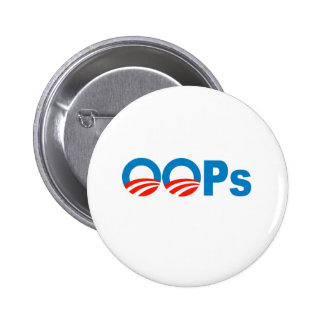Obama oops pinback button